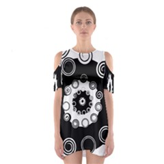 Fluctuation Hole Black White Circle Shoulder Cutout One Piece