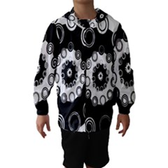 Fluctuation Hole Black White Circle Hooded Wind Breaker (kids)