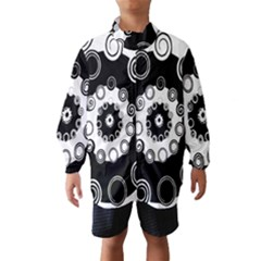 Fluctuation Hole Black White Circle Wind Breaker (kids)