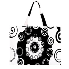 Fluctuation Hole Black White Circle Zipper Large Tote Bag