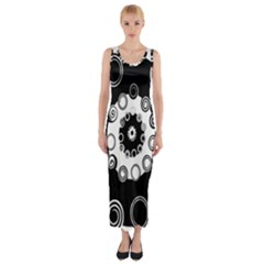 Fluctuation Hole Black White Circle Fitted Maxi Dress