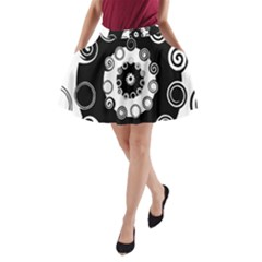 Fluctuation Hole Black White Circle A Line Pocket Skirt by Alisyart