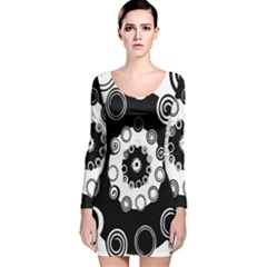 Fluctuation Hole Black White Circle Long Sleeve Velvet Bodycon Dress