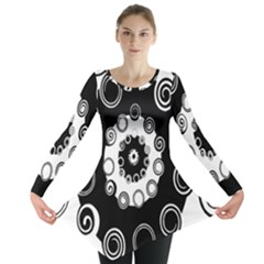 Fluctuation Hole Black White Circle Long Sleeve Tunic