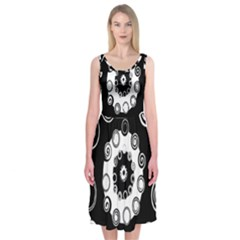 Fluctuation Hole Black White Circle Midi Sleeveless Dress