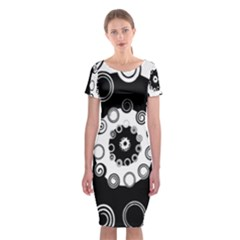 Fluctuation Hole Black White Circle Classic Short Sleeve Midi Dress