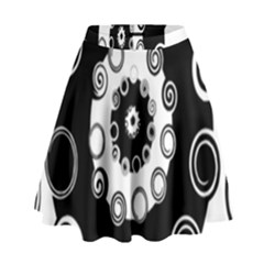 Fluctuation Hole Black White Circle High Waist Skirt