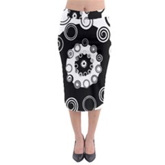 Fluctuation Hole Black White Circle Midi Pencil Skirt