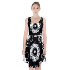 Fluctuation Hole Black White Circle Racerback Midi Dress