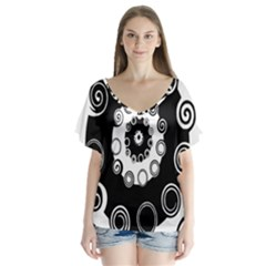 Fluctuation Hole Black White Circle Flutter Sleeve Top