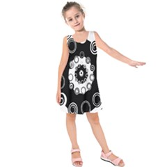 Fluctuation Hole Black White Circle Kids  Sleeveless Dress
