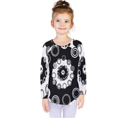 Fluctuation Hole Black White Circle Kids  Long Sleeve Tee