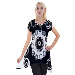 Fluctuation Hole Black White Circle Short Sleeve Side Drop Tunic