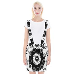 Fluctuation Hole Black White Circle Suspender Skirt