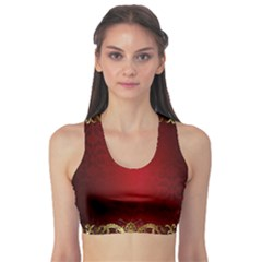 3d Red Abstract Pattern Sports Bra