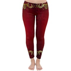3d Red Abstract Pattern Classic Winter Leggings by Simbadda