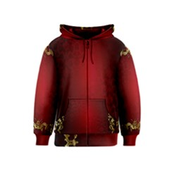 3d Red Abstract Pattern Kids  Zipper Hoodie by Simbadda