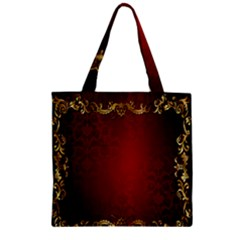 3d Red Abstract Pattern Zipper Grocery Tote Bag