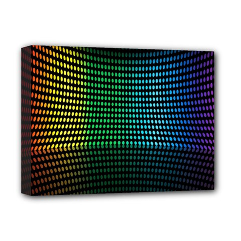 Abstract Multicolor Rainbows Circles Deluxe Canvas 16  X 12