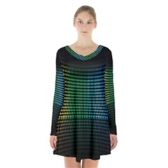 Abstract Multicolor Rainbows Circles Long Sleeve Velvet V Neck Dress
