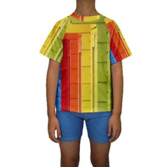 Abstract Minimalism Architecture Kids  Short Sleeve Swimwear by Simbadda