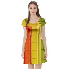 Abstract Minimalism Architecture Short Sleeve Skater Dress by Simbadda