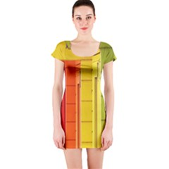 Abstract Minimalism Architecture Short Sleeve Bodycon Dress