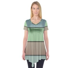 Lines Stripes Texture Colorful Short Sleeve Tunic  by Simbadda