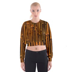 Abstract Bamboo Women s Cropped Sweatshirt