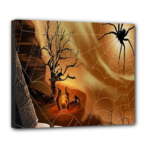 Digital Art Nature Spider Witch Spiderwebs Bricks Window Trees Fire Boiler Cliff Rock Deluxe Canvas 24  X 20   by Simbadda