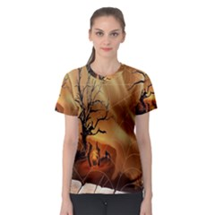 Digital Art Nature Spider Witch Spiderwebs Bricks Window Trees Fire Boiler Cliff Rock Women s Sport Mesh Tee by Simbadda