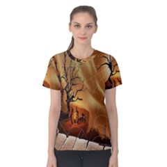 Digital Art Nature Spider Witch Spiderwebs Bricks Window Trees Fire Boiler Cliff Rock Women s Cotton Tee