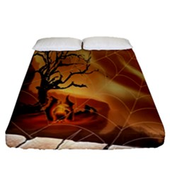 Digital Art Nature Spider Witch Spiderwebs Bricks Window Trees Fire Boiler Cliff Rock Fitted Sheet (queen Size) by Simbadda