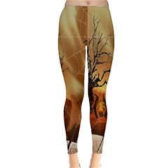Digital Art Nature Spider Witch Spiderwebs Bricks Window Trees Fire Boiler Cliff Rock Classic Winter Leggings by Simbadda