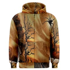 Digital Art Nature Spider Witch Spiderwebs Bricks Window Trees Fire Boiler Cliff Rock Men s Zipper Hoodie by Simbadda
