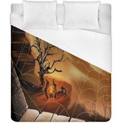 Digital Art Nature Spider Witch Spiderwebs Bricks Window Trees Fire Boiler Cliff Rock Duvet Cover (california King Size) by Simbadda