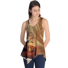 Digital Art Nature Spider Witch Spiderwebs Bricks Window Trees Fire Boiler Cliff Rock Sleeveless Tunic by Simbadda