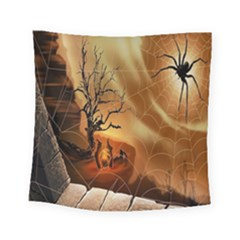 Digital Art Nature Spider Witch Spiderwebs Bricks Window Trees Fire Boiler Cliff Rock Square Tapestry (small) by Simbadda