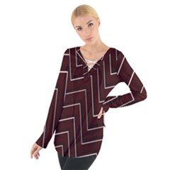 Lines Pattern Square Blocky Women s Tie Up Tee