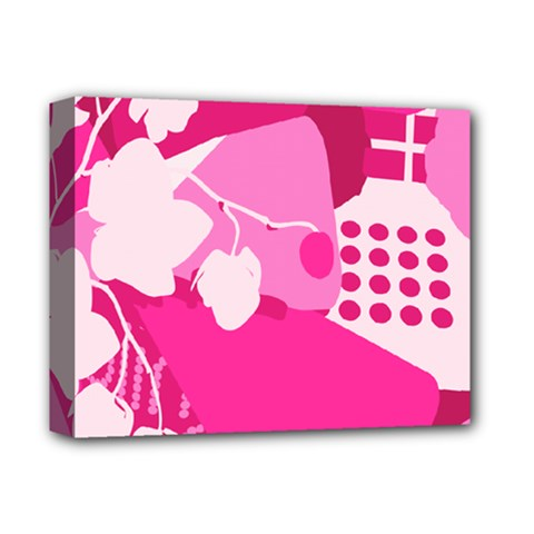 Flower Floral Leaf Circle Pink White Deluxe Canvas 14  X 11  by Alisyart
