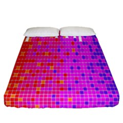 Square Spectrum Abstract Fitted Sheet (queen Size) by Simbadda