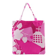 Flower Floral Leaf Circle Pink White Grocery Tote Bag by Alisyart