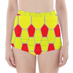 Football Blender Image Map Red Yellow Sport High Waisted Bikini Bottoms by Alisyart