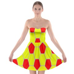 Football Blender Image Map Red Yellow Sport Strapless Bra Top Dress