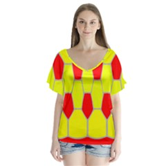 Football Blender Image Map Red Yellow Sport Flutter Sleeve Top