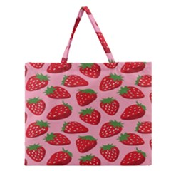 Fruit Strawbery Red Sweet Fres Zipper Large Tote Bag by Alisyart