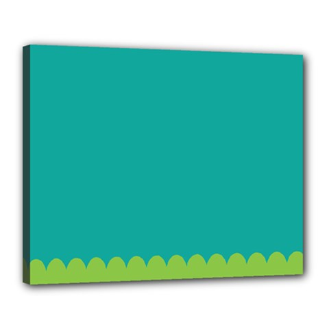 Green Blue Teal Scallop Wallpaper Wave Canvas 20  X 16  by Alisyart