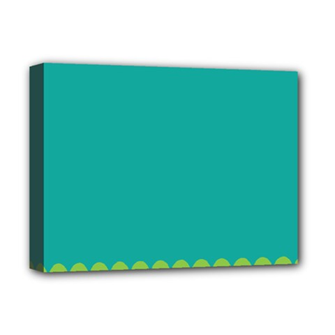 Green Blue Teal Scallop Wallpaper Wave Deluxe Canvas 16  X 12   by Alisyart