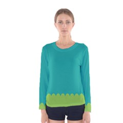 Green Blue Teal Scallop Wallpaper Wave Women s Long Sleeve Tee by Alisyart