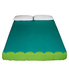 Green Blue Teal Scallop Wallpaper Wave Fitted Sheet (king Size) by Alisyart